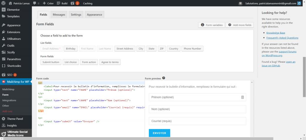 Interface pour faire le design du formulaire de saisie des courriels