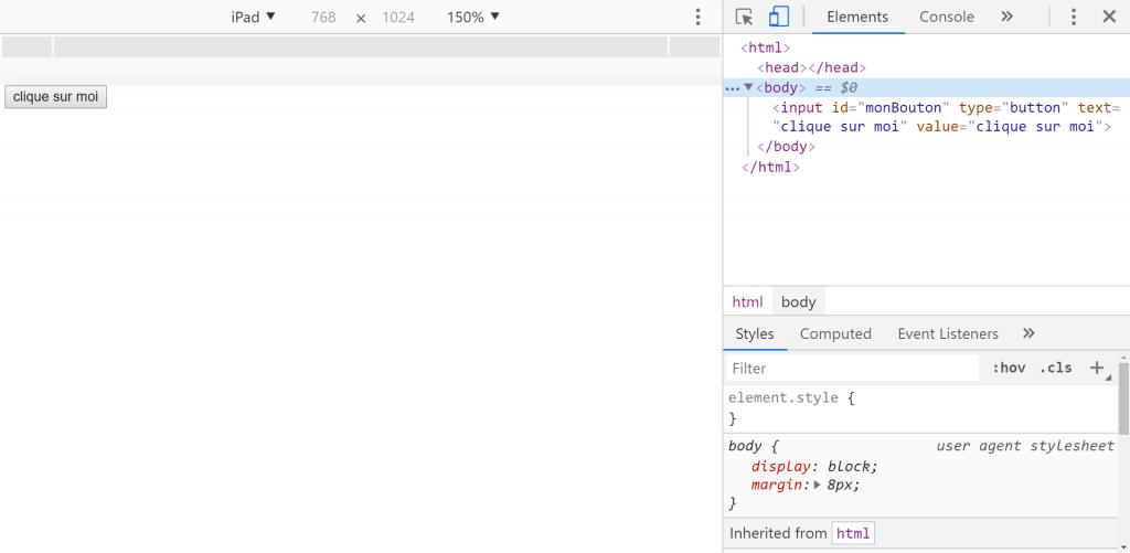 Outils de développement de Google, pour tester l'interactivité des pages web