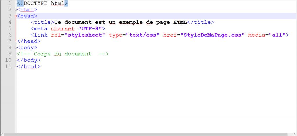 Balises de base des pages HTML