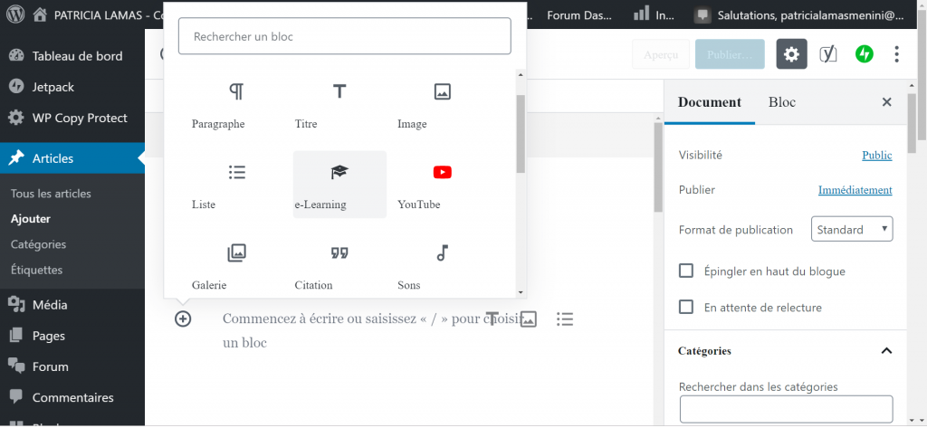 Insérer le contenu dans WordPress