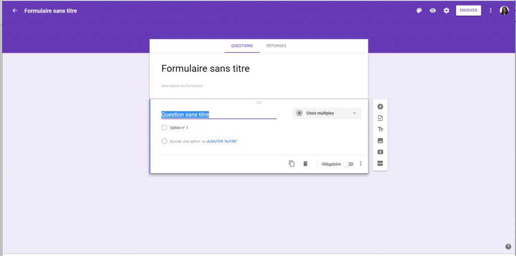 Création d'un nouveau formulaire Google Form.