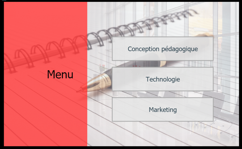 Exemple de menu de contenu e-learning