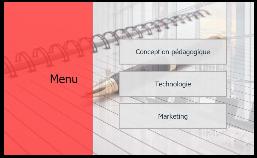 Exemple de menu de contenu e-learning
