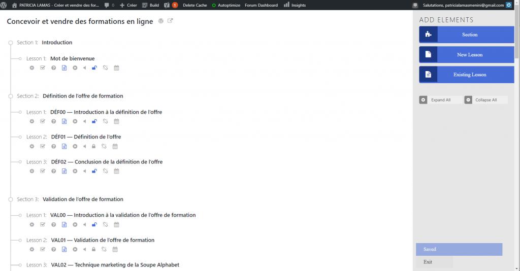 Interface utilisateur de l'extension LifterLMS