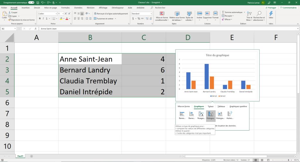 Exemple de graphique introduit avec l'outil d'analyse rapide.