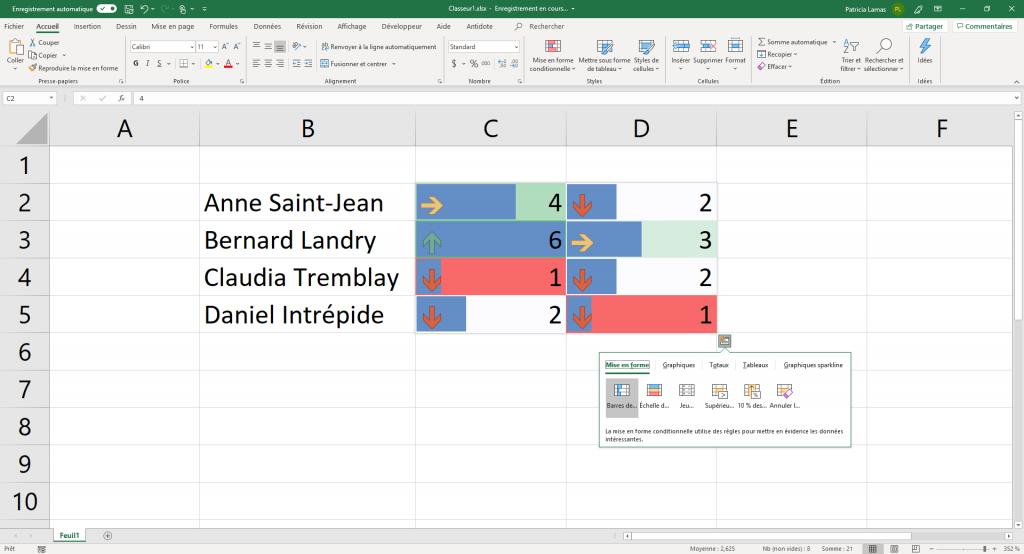 Exemple de mise en forme avec l'outil d'analyse rapide..