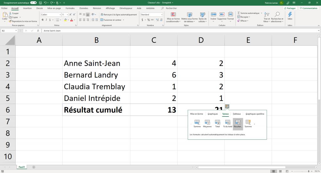 Exemple de totaux introduits avec l'outil d'analyse rapide.