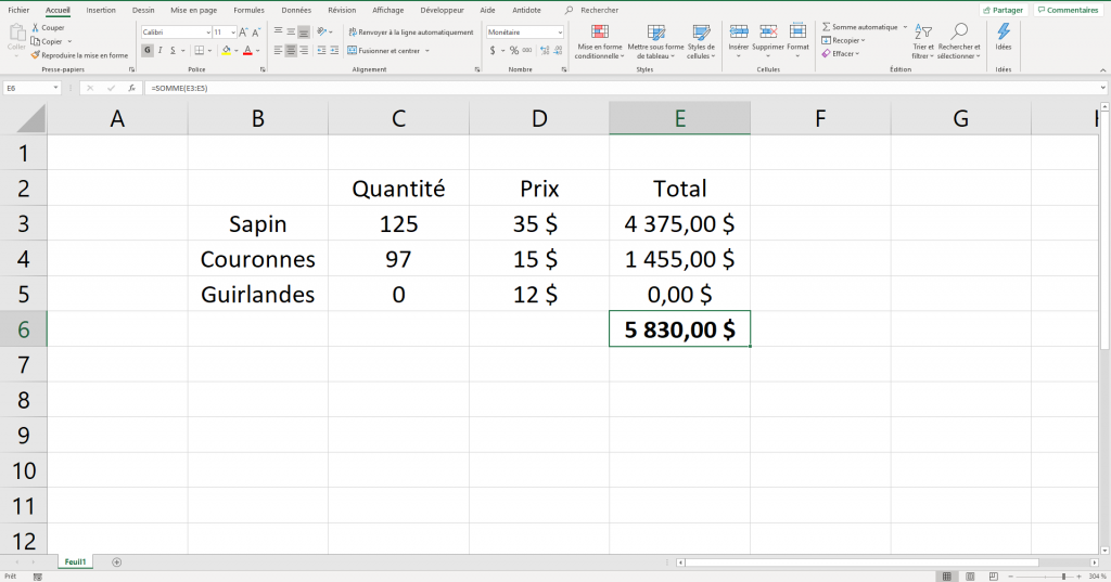Calculer la valeur manquante pour atteindre la valeur cible.