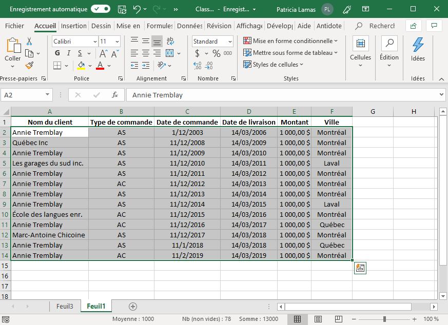 Tableau d'où seront extraites les données.