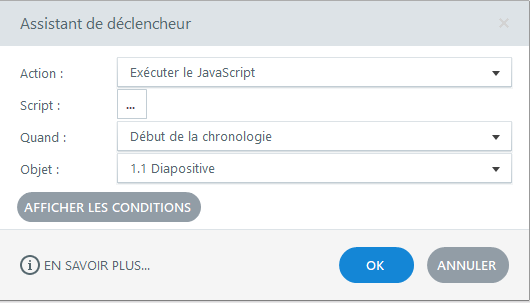Fenêtre Storyline permettant de définir le déclencheur qui va appeler le code JavaScript.