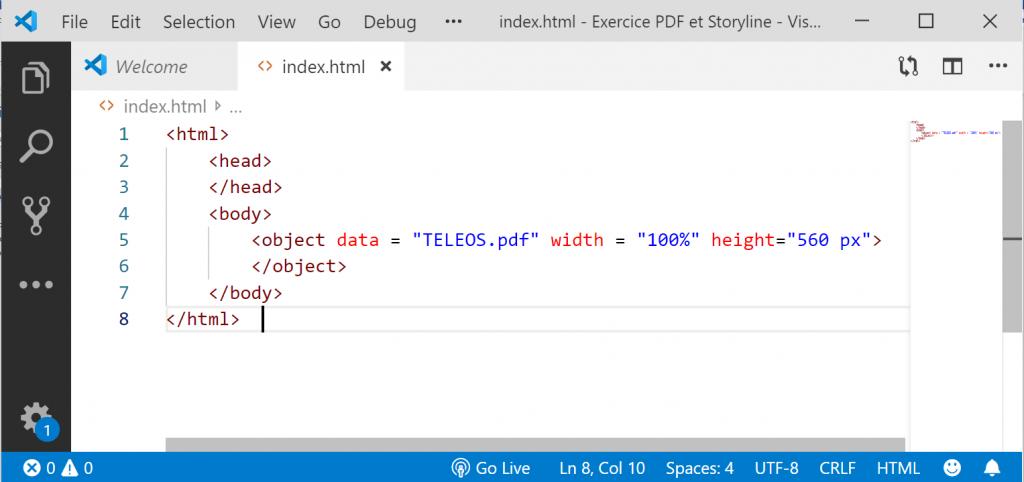 Transformation du PDF en objet web par insertion dans une page HTML.
