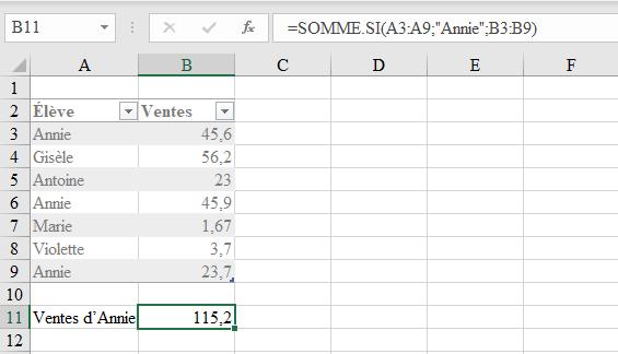 Fonction Somme Si d'Excel