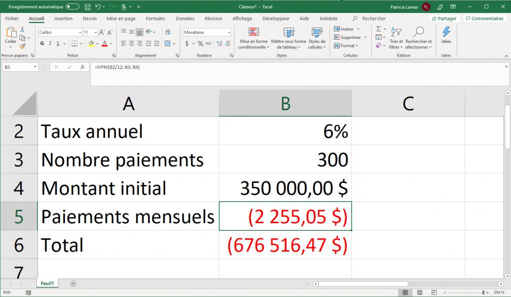 Calculer un paiement avec Excel