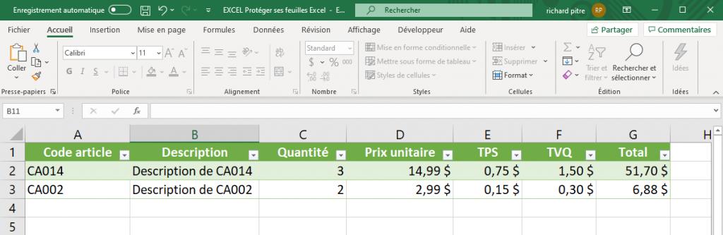 Protéger une feuille Excel