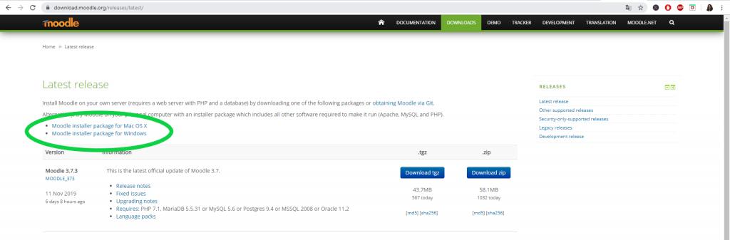 Téléchargement du simulateur du serveur Apache et de la base de données MySQL pour exécuter Moodle localement.