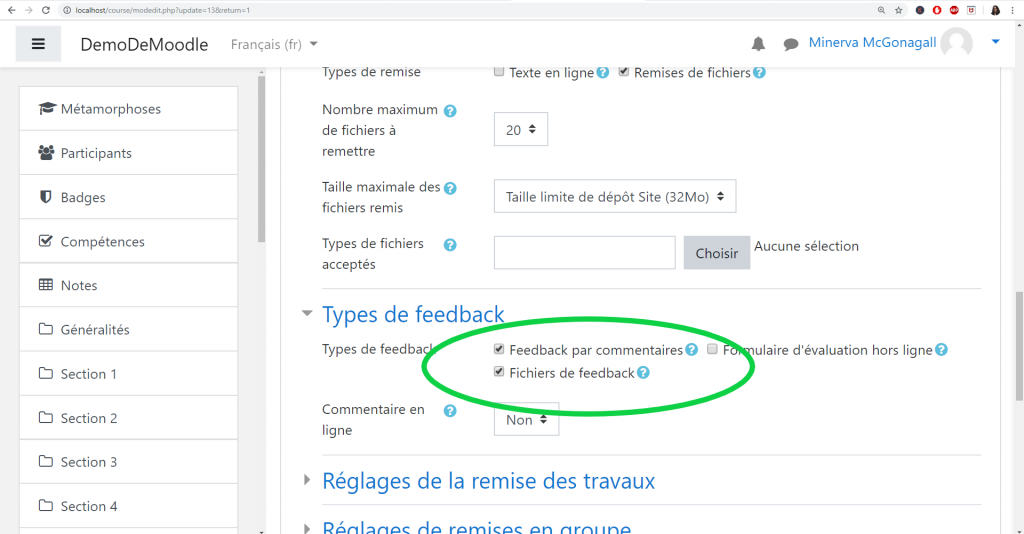 Télécharger des fichiers de feedback en Moodle.